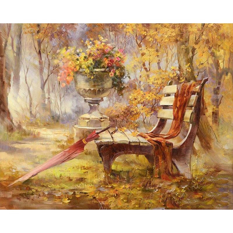 Rahmenlose Herbst Gardan Landschaft DIY Digitale Malerei Durch Zahlinstallationssätze Handgemalte Moderne Wandkunst Leinwand Malerei Für Kunstwerk