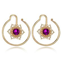 2018 New Hot Trendy Spiral Star Flower Shape Drop Earring for Women Purple Rhinestone Hollow Floral Dangle Earrings Oorbellen