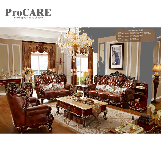 Luxury Solid Wood 1 2 3 Leather Sofa Set With Center Table And Good
