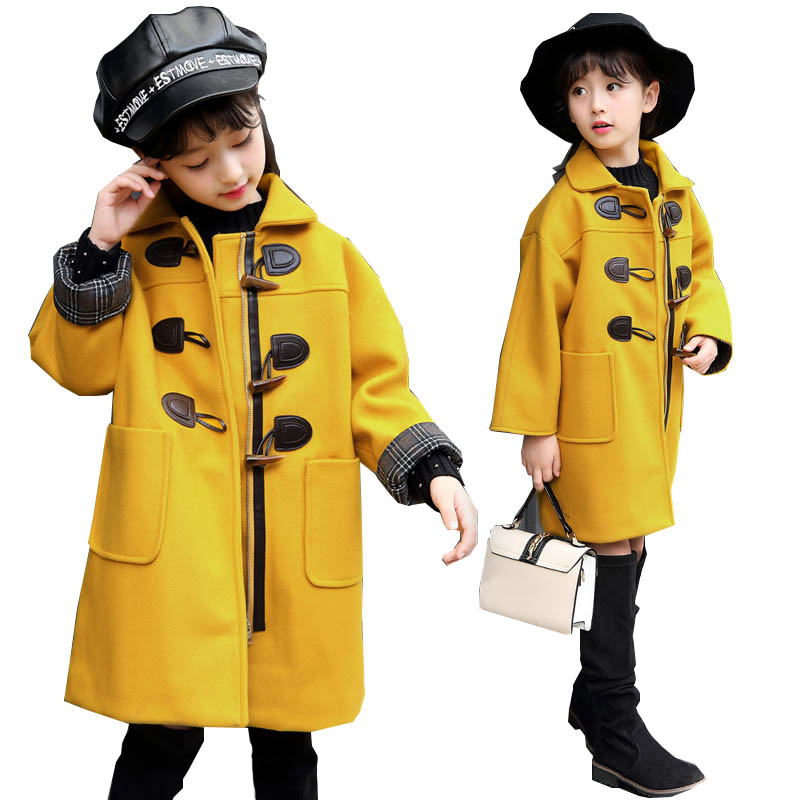 2018 winter girls wool coats outerwear children fashion cotton jacket for girls coats 4~14 age teenager coat kids trench coat цены онлайн