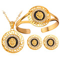 Vintage jewelry Gold plated Black metal big round lion face head Necklace bracelet earring jewelry set for women S643