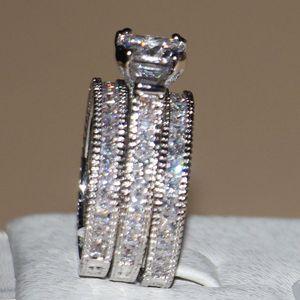 Image 2 - Victoria Wieck anneaux de mariage pour femmes, bijoux Vintage, 14kt, en or blanc, rempli de AAA CZ, 3 pièces pour amour, Size5 11