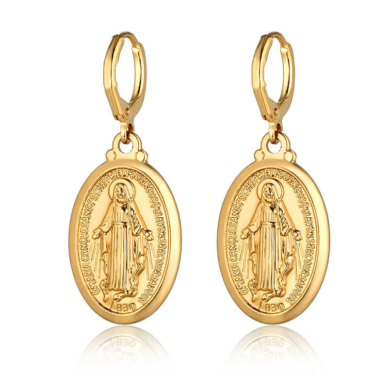 Gold Color Virgin Mary Cross Drop Dangle Earrings For Women Wholesale Ladies Earrings Religious Christian Jewelry Brincos