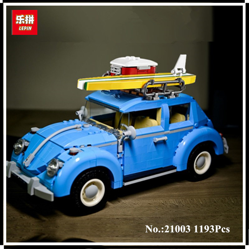 IN STOCK LEPIN 21003 1193pcs Technic Series Car Beetle Model Building Blocks Compatible With 10252 Blue Technic Children Toys lepin 21003 series city car beetle model building blocks blue technic children lepins toys gift clone 10252