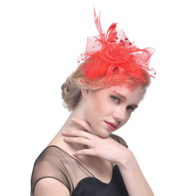 1cf48370107c6 Hot Sales Women Net Feather Flower Hat Cocktail Tea Party Headwear Feather Fascinator  Hat for Girls
