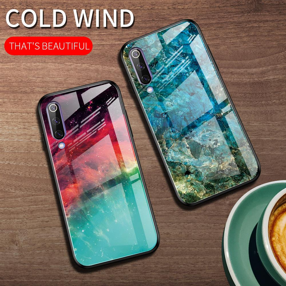 For Xiaomi Mi A3 Case Luxury Marble Grain Gradient Hard Tempered Glass Protective Back Cover Case For Xiaomi Mi A3 Lite Mia3