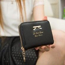 2016 Fashion Women Wallet Cute Bow Zipper Purse Clutch Lady Girl Wallets Short Small Bag PU Credit Card Holder