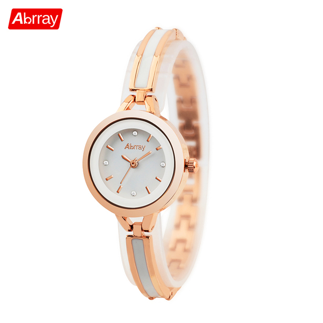 9f6bee48393b Abrray Fashion Quartz Watch Rose Gold Color Mix White Ceramic Chain Ladies  Watches Waterproof Japanese Movement