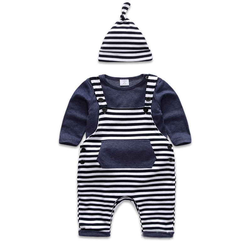 Three Piece Baby Boys Fashion Clothes Set Dark Blue Stripped Decor Hip hop Style T shirt