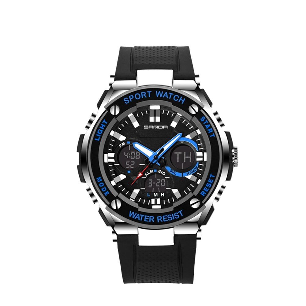 Multifunction Luxury Double Display Cold Light Electronic Waterproof Mens Sport Watch relogio erkek kol saati montre horloges