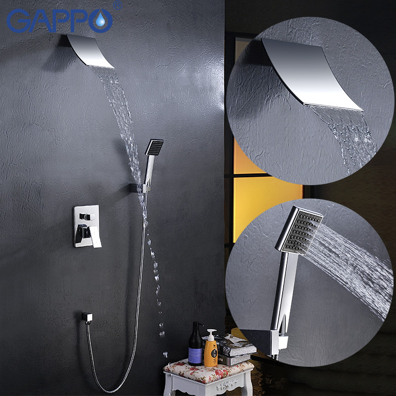GAPPO Shower System Wall bathroom in-wall shower faucet brass set brass rainfall shower mixer tap chrome waterfall Bath Shower chrome bathroom thermostatic mixer shower faucet set dual handles wall mount bath shower kit with 8 rainfall showerhead