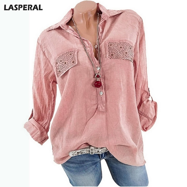 Lasperal Half Sleeve Women Spring Summer Shirts Blouses Casual Solid Blouse Tops Loose Office