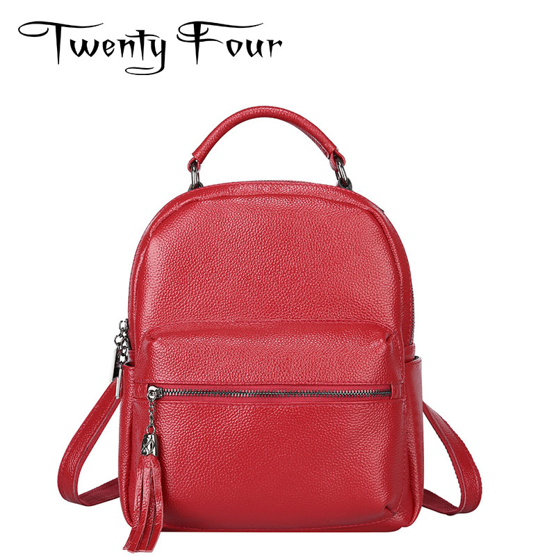 Twenty-four women backpack real genuine leather fashion back pack Tassel Female Preppy style solid mochila school bag Casual
