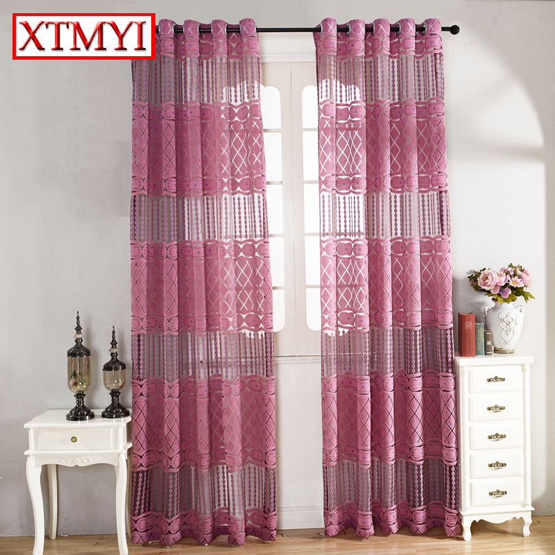 Green leaves Embroidered Curtains for Living Room Tulle Window Sheer ...
