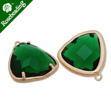 15x15mm matt gold plated framed glass,Faceted glass,emerald,connectors,gemstone bezel,Sold 5pcs/lot-C4173