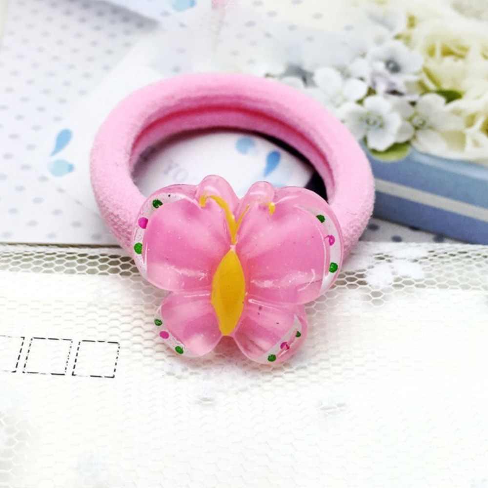 1 шт., 4 см, цветная эластичная резинка для детей, милый акриловый канат для волос с изображением фруктов и животных, утолщенная широкая резинка для волос