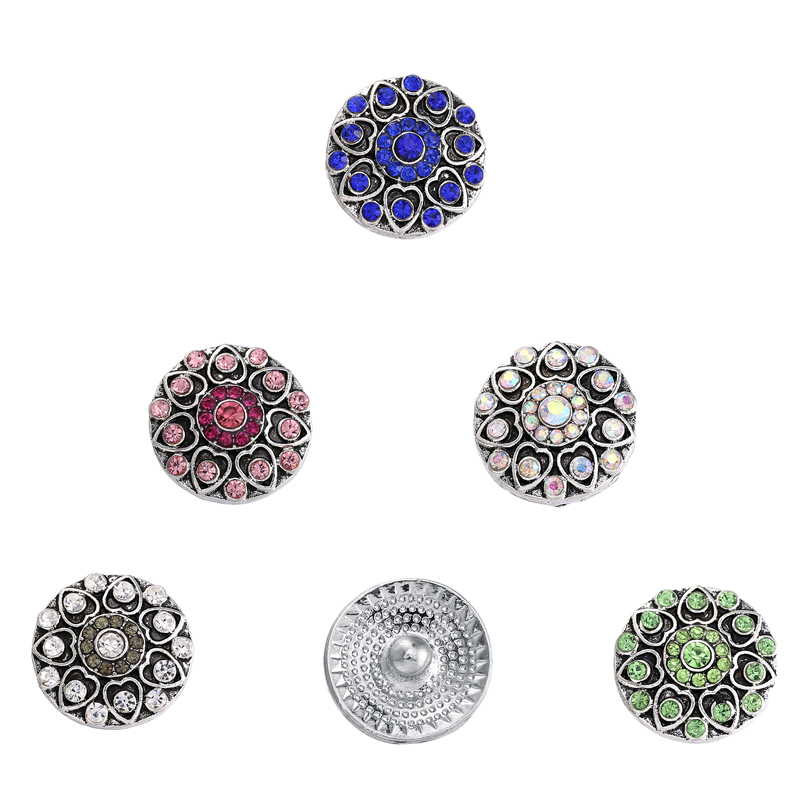 5pcs/lot Rhinestone Stone Decoration Metal Snap Buttons fit 18mm/20mm DIY Snap Bracelet Buttons Jewelry for Women