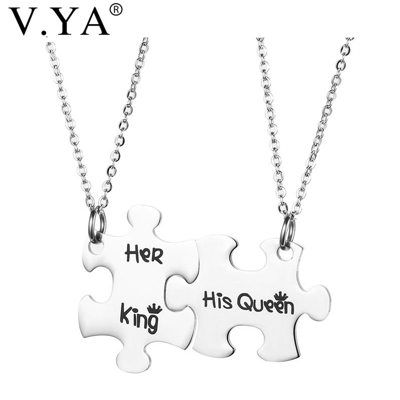 V.Ya Romantic Couple Necklaces Her King His Queen Crown