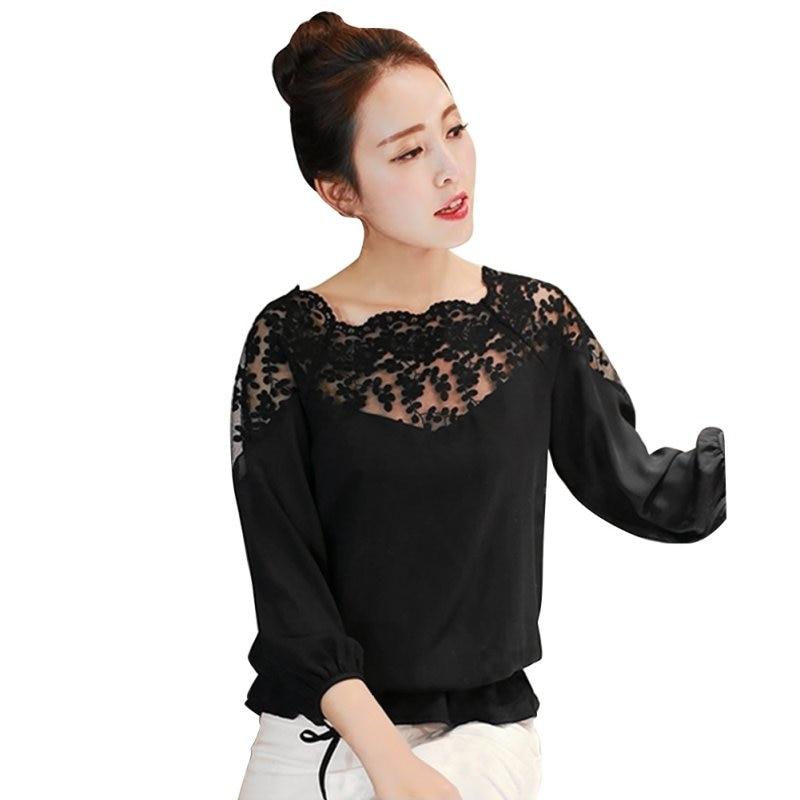 9318188936a Women Summer Blouse Loose Casual Chiffon Long Sleeve Lace Black White  Shirts Tops Blouse