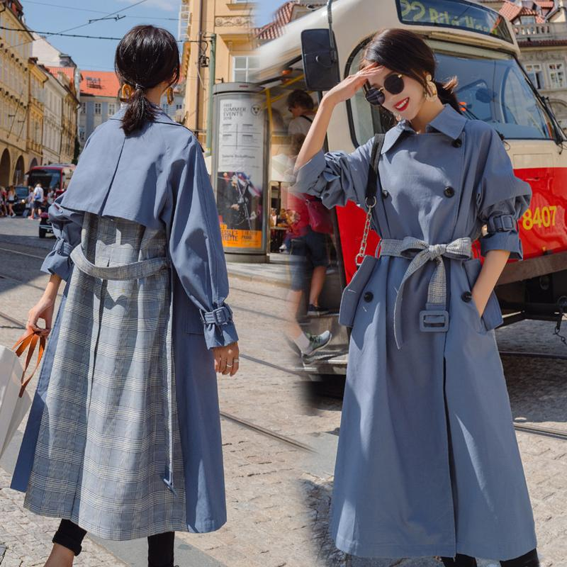 Trench Coat Women New Fashion Splice Plaid Outwear Personality Turn-down Collar Ladies Spring Korean Female Coat Casual Trench