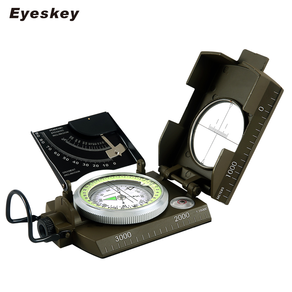 Mulitifunctional Eyeskey Survival Military Compass Camping Hiking Compass Geological Compass Digital Compass Camping Equipment hiking camping copper alloy compass golden page href
