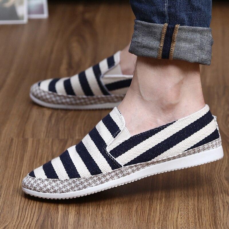 2018 Summer Fashion Men Canvas Shoes espadrilles Men Casual Shoes Slip on Breathable Loafers Men Flats Shoe Zapatos Hombre