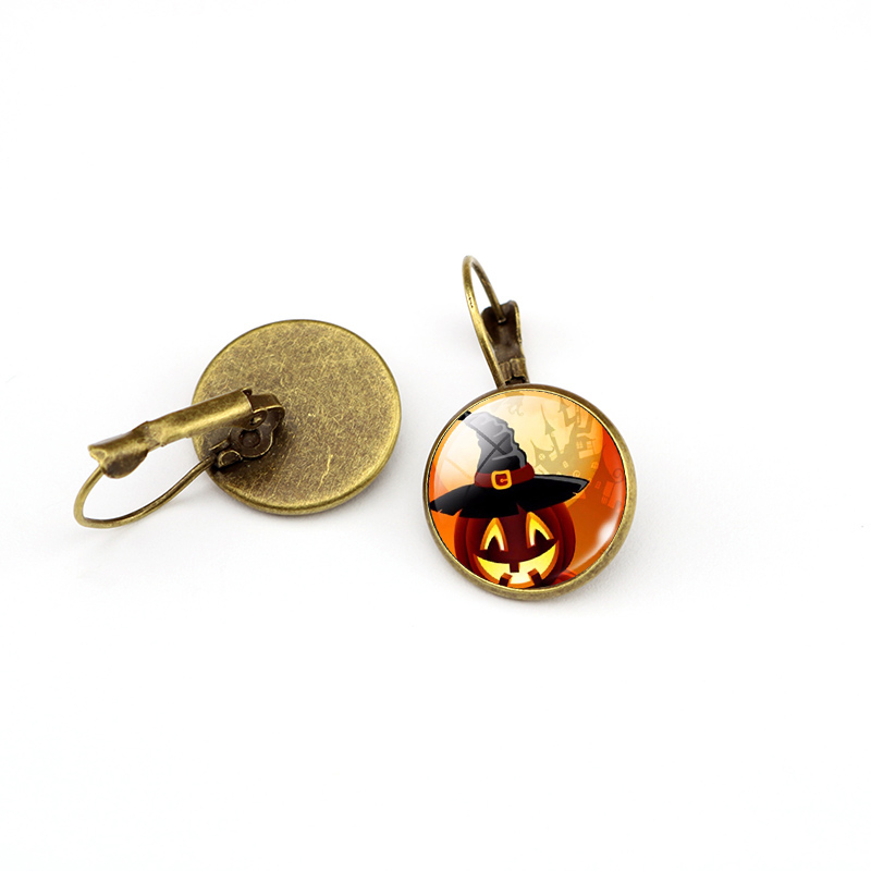 Fashionable Fashionable Halloween Pumpkin Glass cabochon Mashup Personal Jewelery Gift Earrings