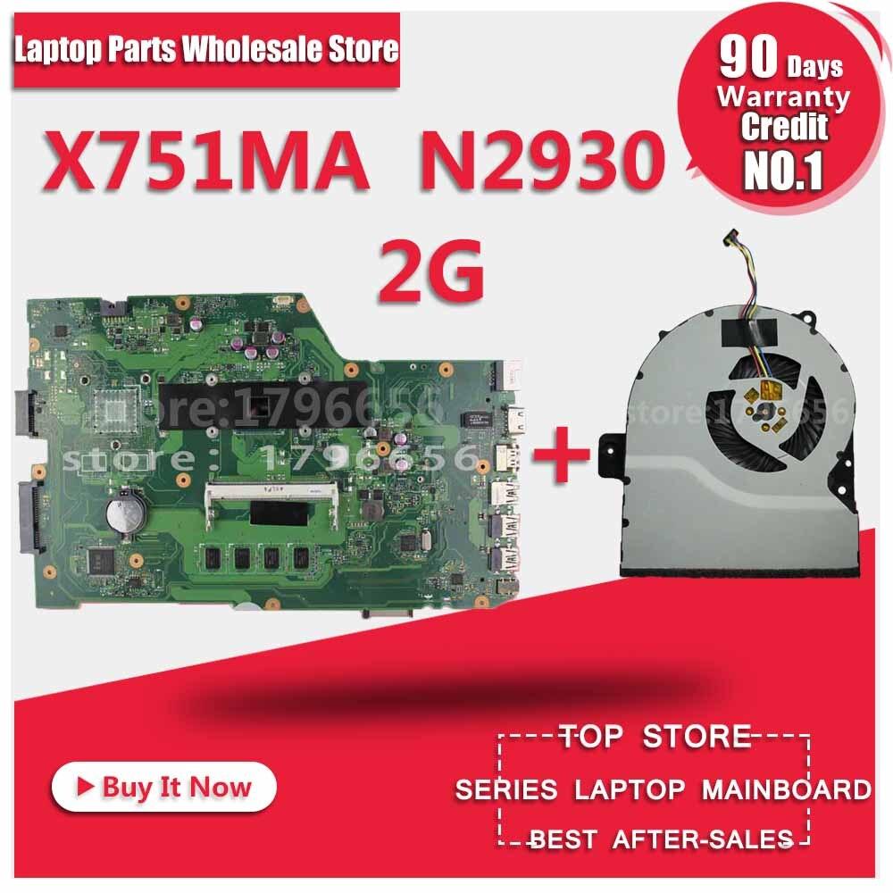K751M K751MA X752M R752MA X751MA Motherboard For Asus N2930 Processor X751MD REV2.0 Mainboard Tested ok