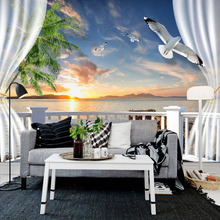 Photo Wallpaper 3D Stereo Balcony Curtains Sunset Seascape Murals Wall Cloth Living Room TV Sofa Backdrop Wall Home Decor Fresco custom 3d photo wallpaper mural living room sofa tv backdrop wallpaper sailboat sunrise seascape 3d picture wallpaper home decor
