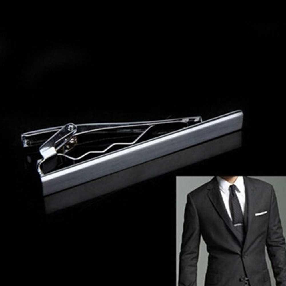 Mens Tie Clip Pins Short Silver Men Metal Necktie Tie Bar Mens Chrome Clamp Stainless Steel Plain Tie Clip