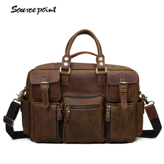 173a6f40fc29 SOURCE POINT Hot Sale Vintage Genuine Leather Crazy Horse Big Capacity Male  Handbags Travel Bags Messenger Bag For Men YD-8058