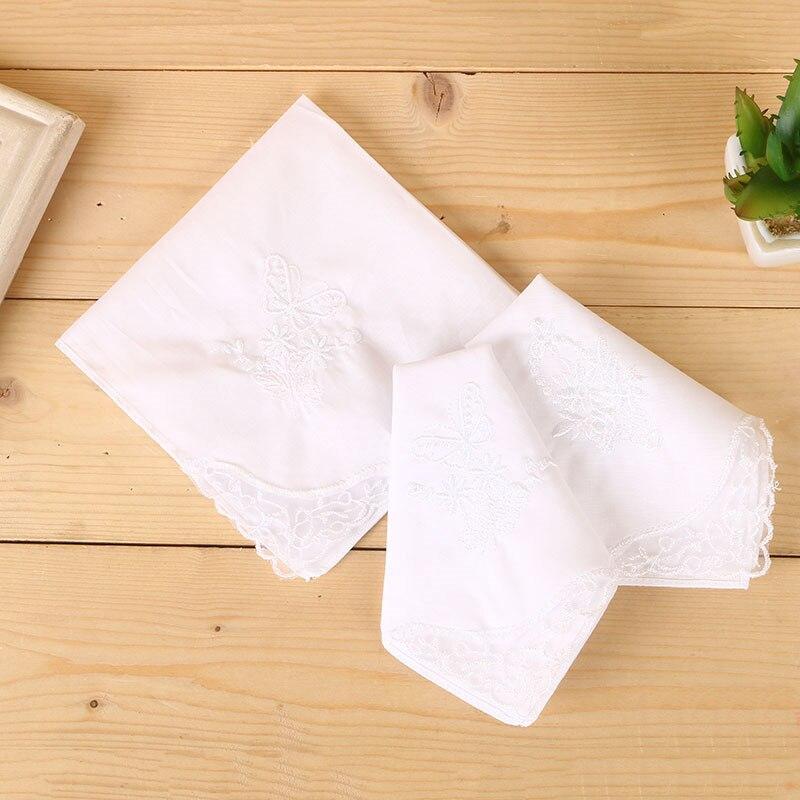 12pcs 28cm*28cm Ms Cotton Small Handkerchief Embroidery Lace Handkerchief