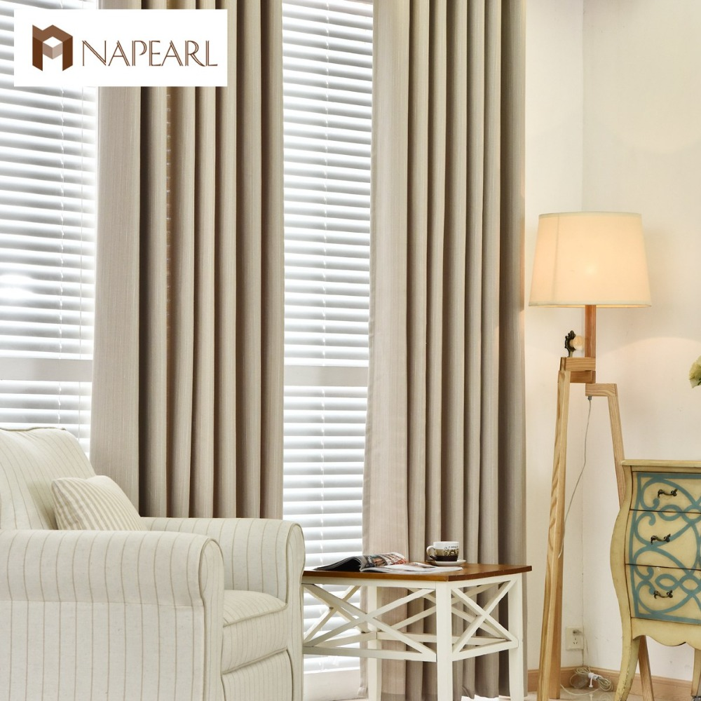 NAPEARL Linen curtains modern blackout bedroom curtains full shade solid color with chenille tulle curtain fabrics window panel