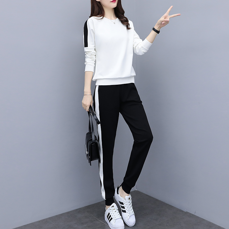 c44cb177dd405 US $21.0  2018 New autumn women's sportswear suit Plus Size fat clothes  Korean version Side white strip women's clothing 2 piece set-in Women's  Sets ...