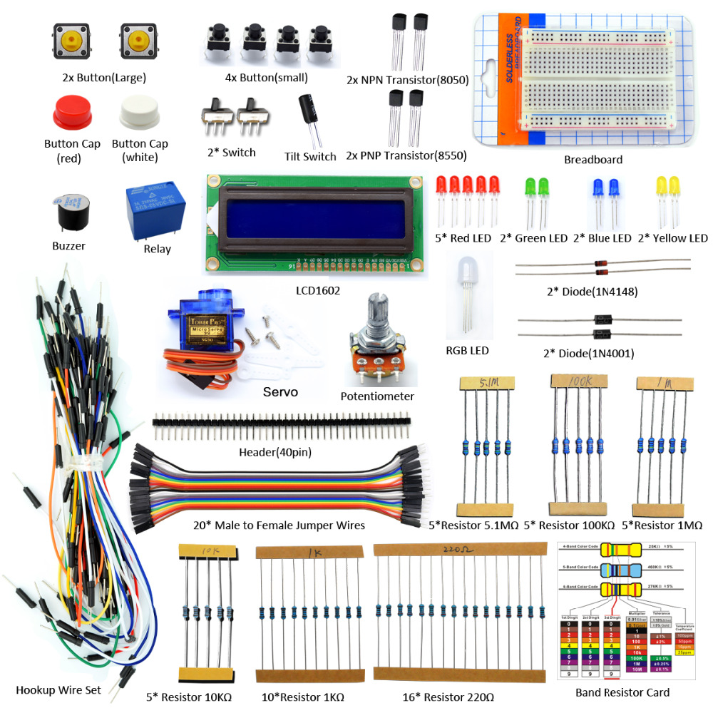 Adeept New Project 1602 LCD Starter Kit For Raspberry Pi 3 2 B/B+ Servo LED PDF Python LCD1602 Freeshipping Book diy diykit brother blue activity book starter b