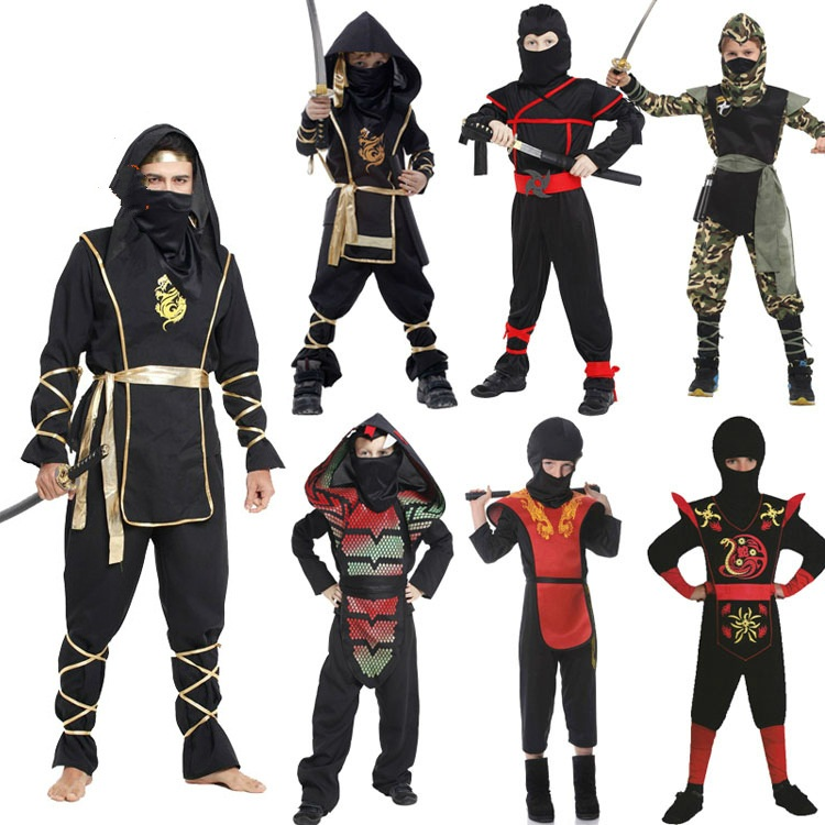Anime Cosplay for Children Naruto Ninja Vestidos Costumes for Adult Jumpsuit with Weapon Toy in Carnival Halloween Party