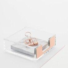 תכליתי תזכיר Pad תיבת נורדי תוספות Creative אקריליק שקוף שולחן מדף קופסא אחסון תצוגת Stand משרד מכתבים