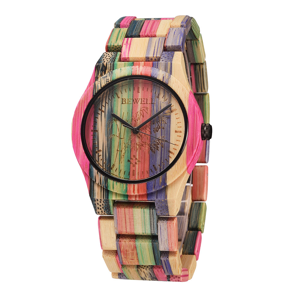 Women Watches Bamboo-Wristwatch Wooden Clock Quartz Feminino Top-Brand BEWELL Relogio