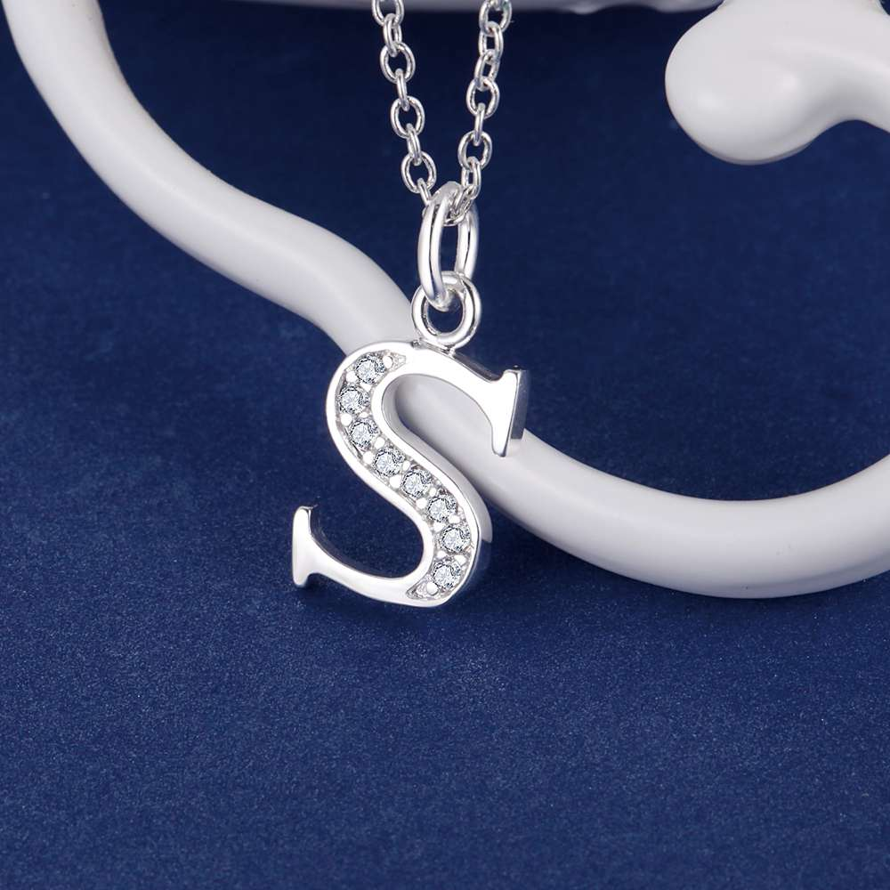 letter s bling zircon silver plated necklace new sale silver necklaces pendants udujskwj usuqdlau in chain necklaces from jewelry accessories on