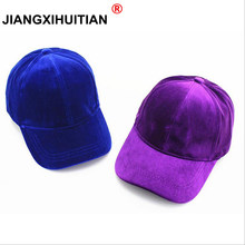 2018 new winter Baseball Caps with no embroidery strap Simple Suede back cap and hat for men and women's hat on white 8 colors(China)