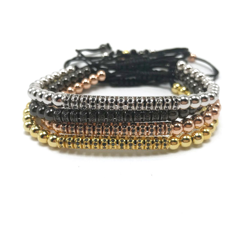 1pcs New Brand Top Quality 5mm Copper Beads with Black Cz Curved Long Tube Macrame Bracelets Men woman CZ bangle
