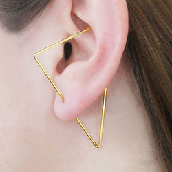 Triângulo de ouro orelha alpinista artesanal triângulo brincos ouro cheio/925 prata jóias oorbellen minimalista brincos para mulher