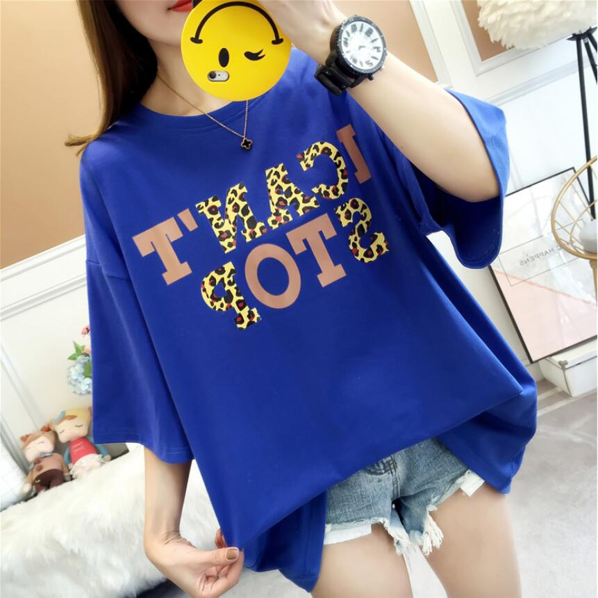 2019 New LA4748 Women's T shirt Print Summer Short Sleeve O neck Casual Tee Tops Female T shirt Woman Clothing