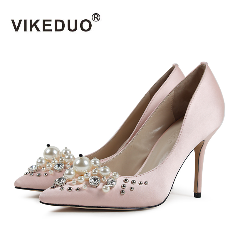 VIKEDUO Fashion High Heels Shoes For Women Solid Beading Pumps Female Plus Size Pointed Toe Handmade Shoe Genuine Leather Sapato