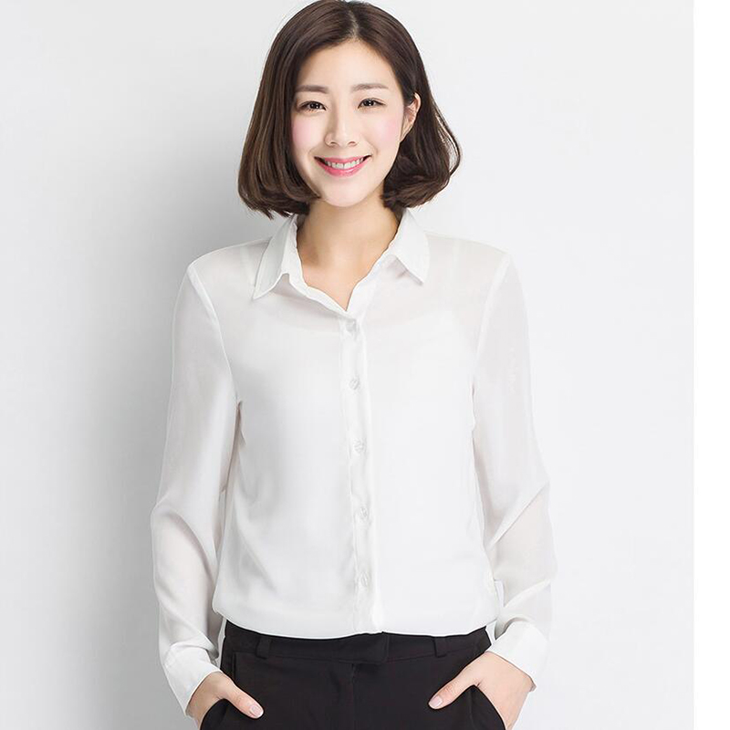 Spring Autumn Women Chiffon Blouses Solid Color Long Sleeve Office Shirts For Work Wear Las Tops Plus Size Black White In From
