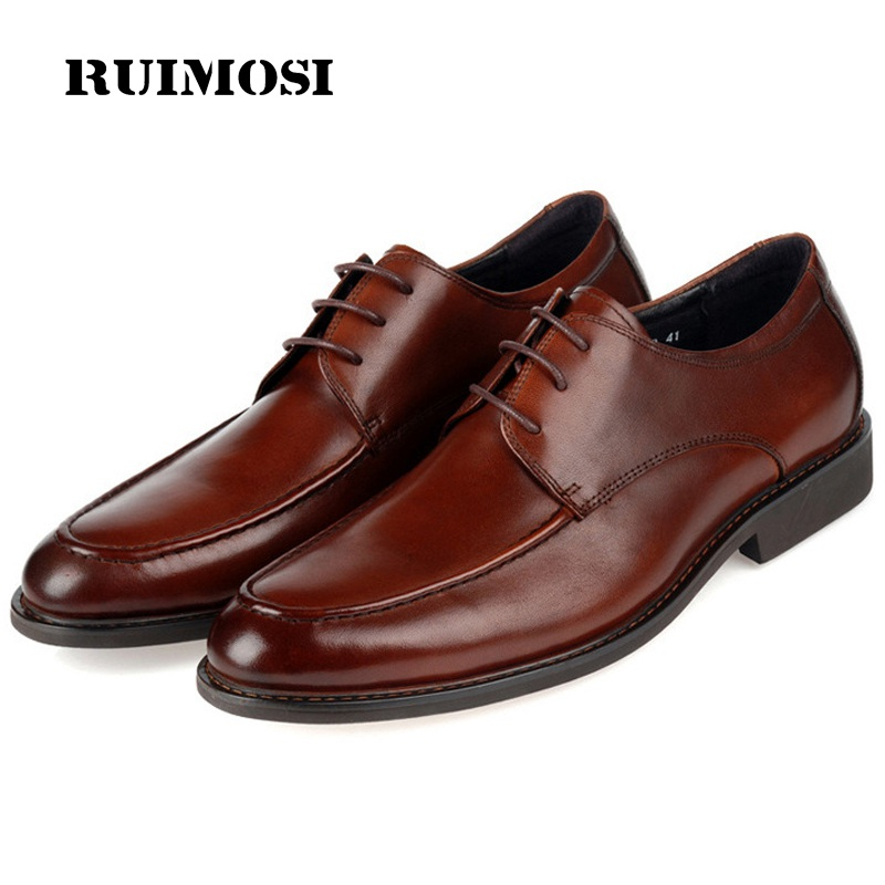 RUIMOSI Round Toe Formal Man Derby Dress Shoes Male Genuine Leather Designer Oxfords Luxury Brand Men's Handmade Footwear IH28
