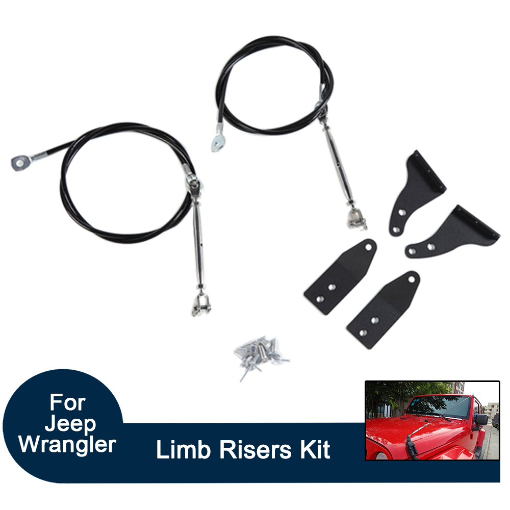 Set For Jeep Wrangler TJ 1997 2006 Limb Risers Kit Hood Protective Sub line Branches Iron