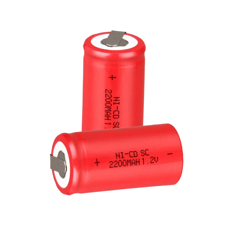 4PCS/lot Sub C SC 1.2V 2200mAh Ni-Cd Ni Cd Rechargeable Battery Batteries Red color Free shipping