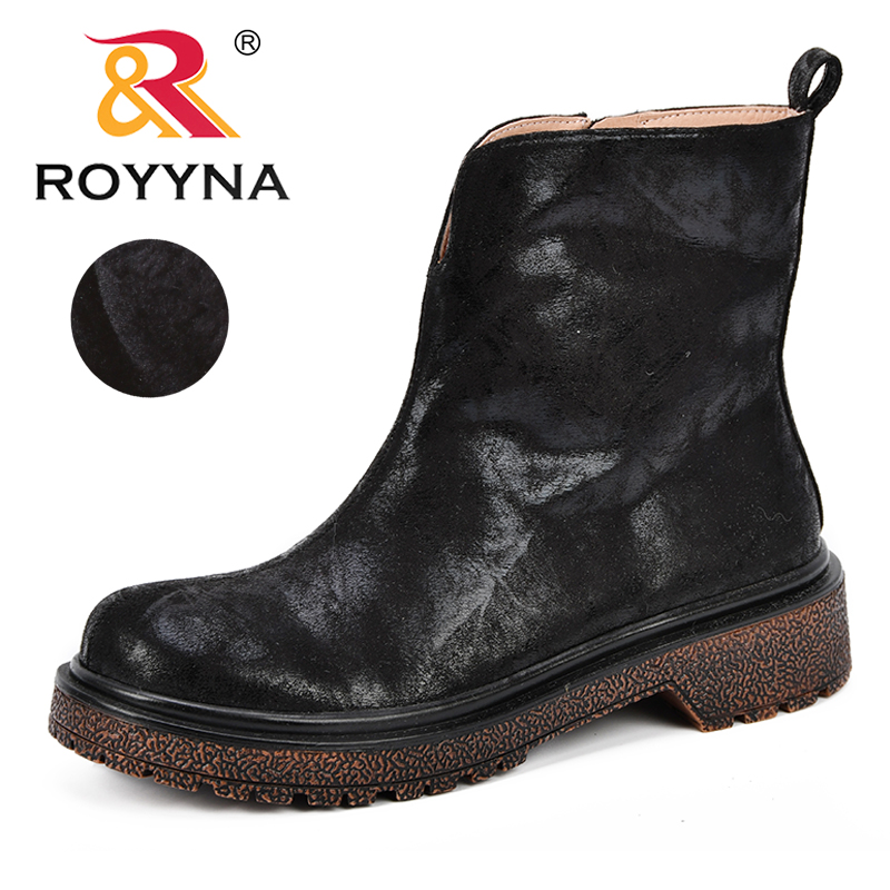 ROYYNA New Designer Fashion Women Boots Synthetic Ankle Round Toe Casual Shoes Woman Flat Heels Zapatos De Mujer