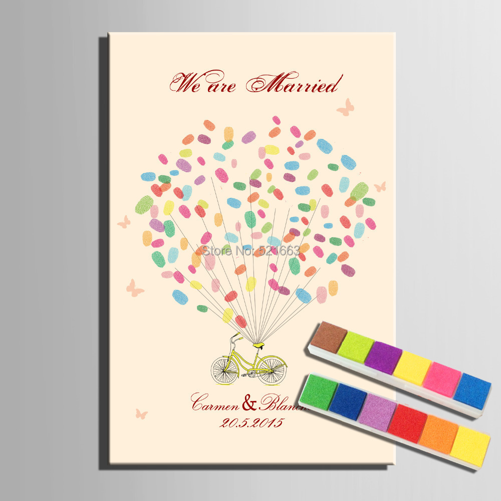 Wedding Gift Painting: Fingerprint Tree Signature Canvas Painting Bicycle Wedding